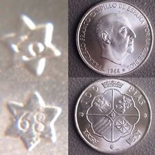100 Pesetas 1966 *68 1968 Moneda Plata Sin Circular Franco España Spain Silver