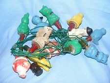 Vintage Old Plastic Figural Christmas Tree Decoration Lights Animals Santa RARE