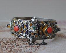 Vintage enamel silver Moroccan Berber bracelet cuff