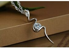"Sterling Silver Dancing 4mm Cubic Zirconia Pendant Necklace 18"" Chain Gift BoxC6"