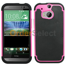 Hybrid Rugged Rubber Hard Case Cover for Sprint Verizon AT&T HTC One M8 Hot Pink