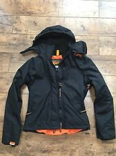 Ladies Superdry Black Hooded Windcheater Jacket Size Medium