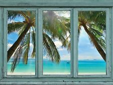 Blue waters framed by Palm Trees on a perfect white sand beach-Wall Mural- 36x48