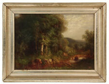 Antique Hudson River School Oil on Canvas Fisherman at Stream Falls Painting