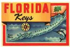 FLORIDA  KEYS   Map   Vintage- 1950's Style   Travel Sticker/Decal