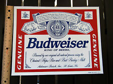 3 BUDWEISER 12''X9 1/2'' LABEL STICKER (vinyl 2 sided static cling) WINDOW SIGN