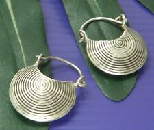THAI KAREN TRIBE HILL 98% SILVER Handmade POUCH BAG FILIGREE Cute EARRINGS E1144