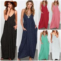 UK 8-26 Women Sleeveless Strappy Polka Dot Long Maxi Dress Summer Beach Sundress