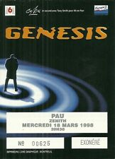 RARE / TICKET DE CONCERT - GENESIS ( PHIL COLLINS ) PAU ZENITH 1998 /COMME NEUF