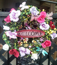 Handmade Spring Floral Boxwood WELCOME Wreath Pink Purple Rose Butterfly Decor
