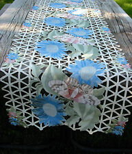 "Embroidered Table Runner Cut Work Lace Butterflies & Flowers  72"" by 16 Summer"