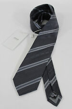 Authentic Armani Collezioni Men Silk Suit Neck Tie Dark Gray Striped Italy Made