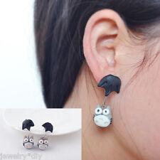 JD Women Girl Grey 3D Animal Cute Cat Polymer Clay Ear Stud Earrings Dangle Gift