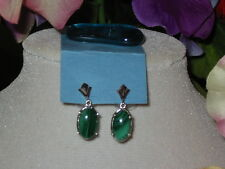 SALE  Vintage Estate Earrings Large Malachite Drops Sterling Silver Post Back