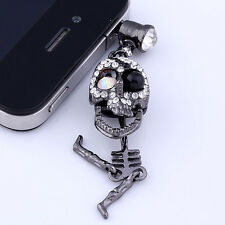 Cute Crystal Skull Earphone Jack Anti Dust Plug Stopper For iPhone Cell Phone