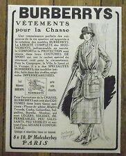 PUBLICITE BURBERRYS VETEMENTS CHASSE    advert  1924