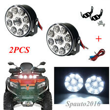 2X 9-LED DRL Car Fog Lamp Round Driving Running Daytime Light Head Light White