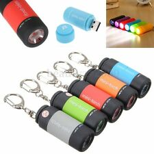 mini Torcia LED Ricaricabile USB Luce Lampada Flashlight Portachiavi Keychain