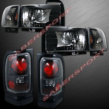 1994-2001 DODGE RAM PICKUP BLACK HEADLIGHTS + CORNER + BLACK TAIL LIGHTS COMBO