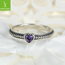 Fashion Silver Love Heart Finger Ring with Purple Crystal Fit Women Ring Size 7