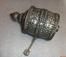 fine antique Tibet China  silver prayer wheel with scroll