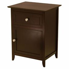 Winsome Trading End Table with 1 Drawer and Cabinet, Espresso, 18.9 inches