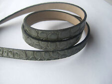 1 Yard Best Quality 10x2mm Flat Faux Snake Skin Army Green PU Leather Cord