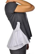 NS TWIN SET SIMONA BARBIERI GREY WHITE RUFFLE TOP T3S5VA S,M,L £135