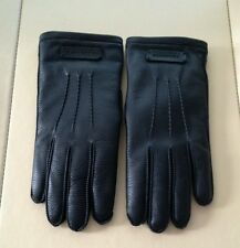 Authentic Burberry Men's Black Leather Gloves With Real Fur $895