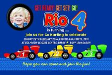 Personalised Birthday Invitations Racing Car Go Kart Party x 5