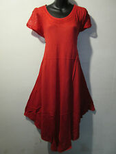 Dress Fits 1X 2X 3X 4X Plus Long Tunic Red Embroidery Cotton Sundress NWT 900