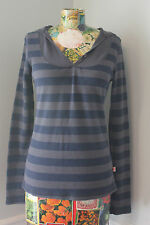 Curious Gypsy Tunic Long Sleeve Hoodie Thermal Striped Bella Swan style Large L