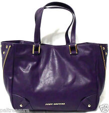 JUICY COUTURE LEATHER TOTE SHOPPERS HANDBAG BAG LARGE PURPLE WOMENS PURSE NWT