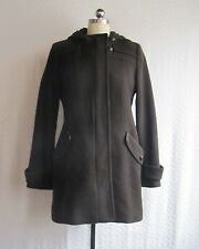 cole haan wool cashmere coat lambskin trim cocoa brown size 10 excellent cond.