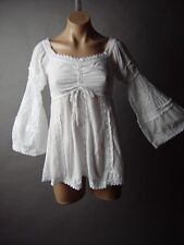 Off The Shoulder Dagget Sleeve Medieval Renaissance Smocked Peasant Top Blouse S