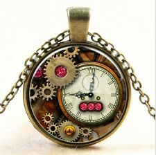 Vintage clock Old Fashioned Antique Style Glass Photo Necklaces & Pendants!