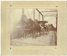 Vintage 1900s  B&W Photo 2 Horse Buggy, 2 Bicycles all on a Bridge