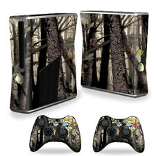 Skin Decal Wrap Cover for Xbox 360 S Slim + 2 controllers Tree Camo