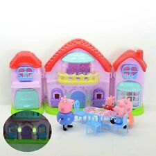 Peppa Pig Villa Castle House Playset Toy Set with Light Music and 4 Pcs Family