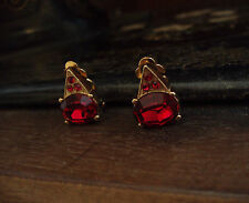 Vintage Oval Ruby Red Crystal Clip - On Earrings. Signed