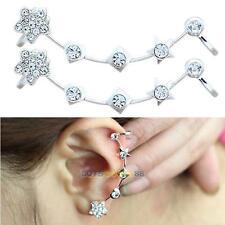 Fashion Retro Crystal Star Flower Silver Ear Cuff Stud Earring Wrap Clip On Ear