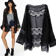 Womens Boho Lace Floral Chiffon Long Cardigan Coat Jacket Loose Kimono Shirt Top