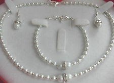 Childrens/Bridesmaids/ Jewellery Set - White Glass Pearls Rhinestone