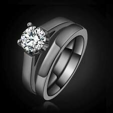 2Pcs Women's Size 6 White Topaz Black 18K Gold Filled Wedding Engagement Ring