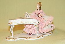 ANTIQUE DRESDEN Karl Klette figurine, PIANIST LADY GERMAN PORCELAIN PIANO PLAYER