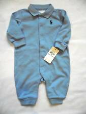 NEW Ralph Lauren Boys Blue Romper Baby Grow Suit 0-3m