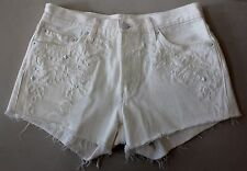 LEVI'S White Denim 501 Studded Cut Off Button Fly High Waisted Shorts Sz 28 #207