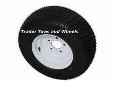 """*2* 205/65-10 LRE Bias Trailer Tires on 10"""" 5 Lug White Wheels 20.5x8.0-10"""
