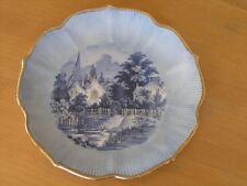 Vintage Blue & White Hand Decorated Landscape Plate Marci Stimson Gilt Rim