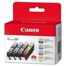 Canon 221 4-Pack Cyan Magenta Yellow Black9 ml CLI-221 New- cartuccia